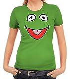 Karneval Fasching Verkleidung Damen T-Shirt Gruppen & Paar Frosch Kostüm, Größe: M,apfelgrün