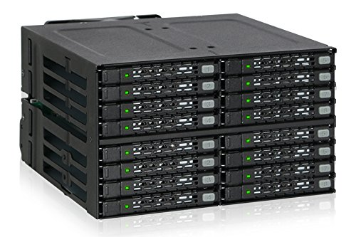 """ICY DOCK ToughArmor Rugged Full Metal 16 Bay 2.5"""" SAS/SATA SSD/HDD Backplane Cage for 2X External 5.25"""" Bay - MB516SP-B"""