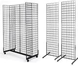 2' x 6' Grid Wall Panel 4-Sided Floorstanding Display Fixture with Gondola Base Plus 2x) 24' x 72' Floor Standing Grid Displays, Black