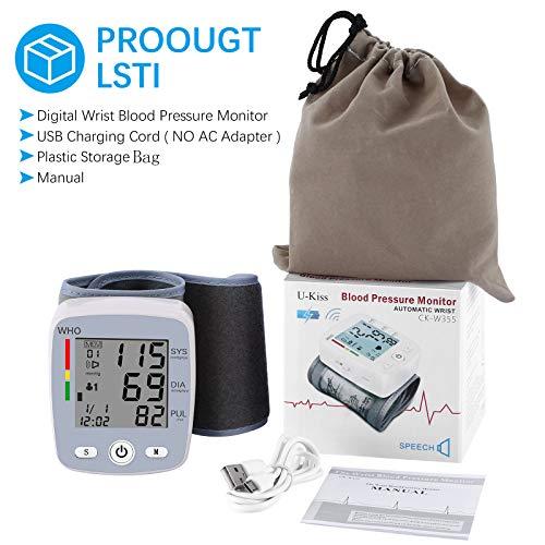 51IWRSgDIjL - U-Kiss Tensiómetro de muñeca, monitor de presión sanguínea para el hogar o portátil (Gris)