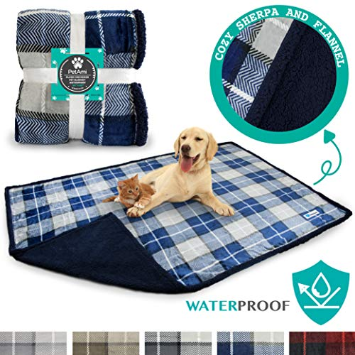 PetAmi Waterproof Dog Blanket for Bed, Couch, Sofa   Waterproof Dog Bed Cover for Large Dogs, Puppies   Checkered Blue Sherpa Fleece Pet Blanket Furniture Protector   80 x 55 (Navy)