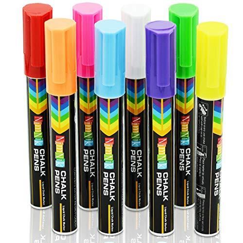 Rotuladores de Tiza Liquida para Niños - Pizarra Colores 6mm | 8 Llamativos Cristal Metal Punta Reversible Cincel | Marcadores Pluma Neón Borrables