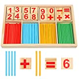 VEYLIN Wood Toy Counting Rods, Mathematical Wooden Number Cards and Counting Sticks for Kids Preschool Educational...