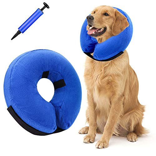 Thursday April Inflatable Pet Collar Soft Dog Cone Collar Protective Neck Collar for Dog and Cats Recovery E-Collar Cone for Small Medium Large Dogs with 1 Inflator(M)