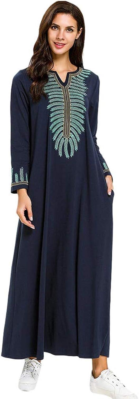Muslim Dres for Women Long Sleeve Long Dress Abaya Islamic Dress Beautifully Embroidered Muslim Dress CapsA