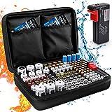 Boîte de Rangement de Batterie, Keenstone Organisateur de Stockage de Batterie avec Capacité pour 139 Piles AA AAA C D 9V - Venez avec Le Testeur de Batterie BT-168 (Ne Pas Inclure de Batteries)