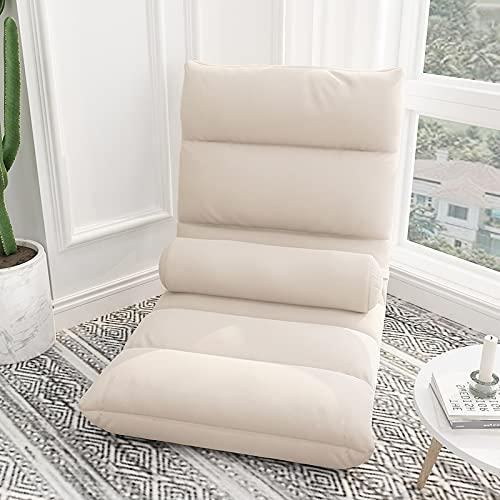 ZQQFR Silla de suelo, acolchada, suelo japonés, plegable, meditación, reclinable, para el tiempo libre, con respaldo, para suelo, lona, tapizada, juego de sillón, tatami, salón, balcón