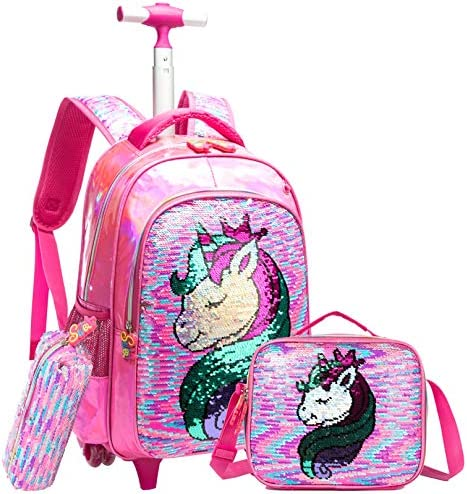 Girls Rolling Backpack Kids Backpacks with Wheels Backpack for Girls for School with Lunch Box product image