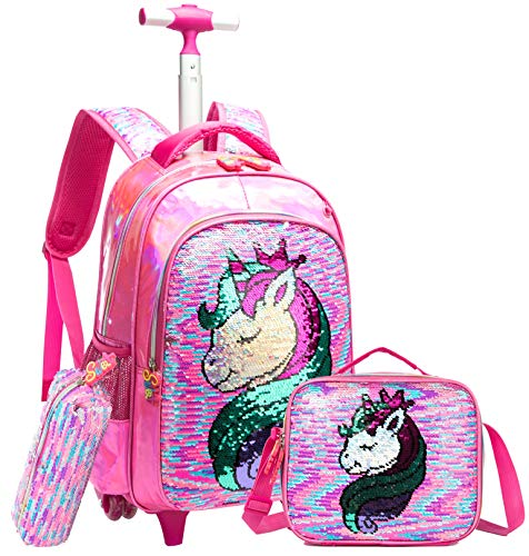 HTgroce Kids Girls Backpack Magic Reversible Sequin Trolley Bag Girls Boys School Bag Children's Backpack Rolling Backpack with Wheels School Rucksack with Lunch Box Unicorn Rose Red