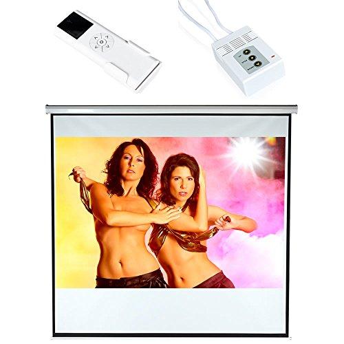 Melko Leinwand elektrisch für Beamer, Heimkino, Büro, Projektoren, 203 x 203 cm, 113 Zoll, ideal für HD-TV mit Motor und Fernbedienung