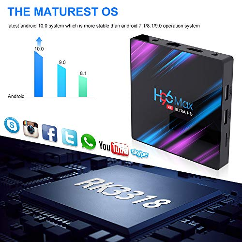H96 Max Android 10 TV Box [4GB RAM+64GB ROM] Boîtier TV Bluetooth 4.0 Android TV Box USB 3.0 RK3318 Quad-Core 64bit Wi-FI 2.4G/5G LAN100M 4K Android Box Smart TV Box