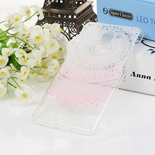 3 x Huawei Honor 6X Hülle TPU Soft Tasche Weiche CASE KASOS Handyhülle Schutzhülle Schale Cover Silicone Taschen IMD Technologie, Rosa Gradient Totem + Lila Löwenzahn + Blau Traumfänger - 3