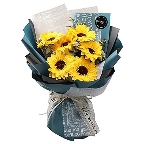 向日葵 ソープフラワーギフト おしゃれ 花 ボックス 造花 ひまわり 花束 プレゼント 退職 誕生日 記念日 お祝い あす楽ギフト ギフト (イエロー)