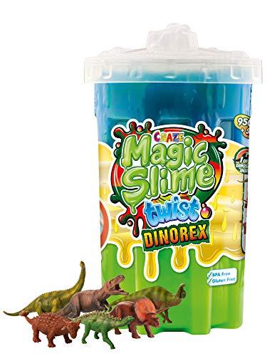 CRAZE Magic Slime Twist magischer Spielzeug Schleim Kinderschleim in Dose 950 ml inkl.Dino Spielfigur Mehrfarbig bunt 19894, Regenbogen