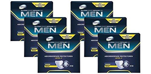 Tena Men Level 2 Hygiene-Einlagen für Männer mit leichter bis mittlerer Blasenschwäche/ Inkontinenz - sicher, diskret und geruchsneutralisierend 6er Pack (6 x 10 Stück)