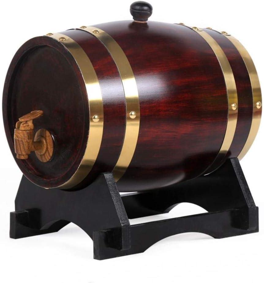 YINGJI Barril de Roble Vintage Oak Barrel Dispensador De Vino Dispensador De Vino Dispensador De Madera Whisky Vinagre De Vino Cerveza Construido En Papel De Aluminio Liner 5L (Capacity : 5L)