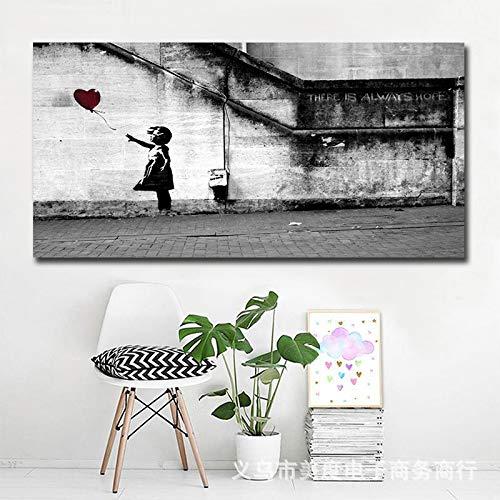 WSNDGWS Sofá Fondo Inicio Pintura de Pared Niña y Globo Decoración Pintura Sin Marco de Imagen A1 30x60cm