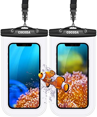"""Cocoda Custodia Impermeabile Smartphone, 2 Pezzi IPX8 Cover Subacquea Compatibile con iPhone 12/12 Pro Max/11 Pro Max/XR, Galaxy S21 Ultra/S20/Note 10 fino a 7"""" per Spiaggia, Viaggi, Piscina, Kayak"""