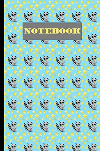 Notebook: Raccoon And Stars : Seamless Pattern Journal Lined Pages