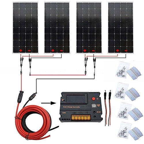 600W 12V/ 24V Off Grille Système PV solaire : 4 pcs 150W Mono Panneaux et régulateur de charge 20A avec écran LCD Port USB pour batterie 12V/ 24 V chargement en camping-car caravane camping-car RV
