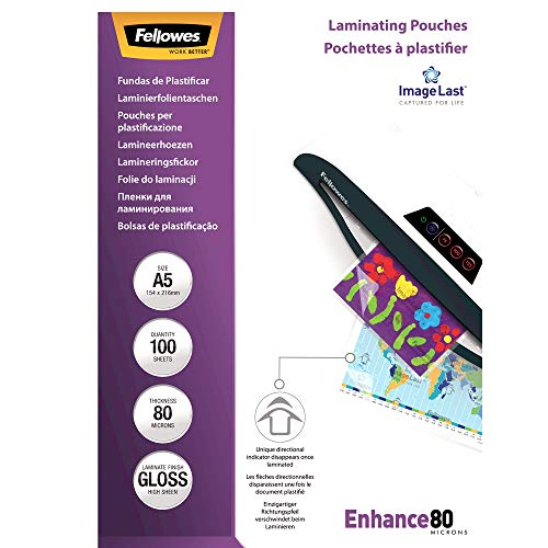 Fellowes Pouches Lucide Enhance80, 80 my, A5, 100 Pezzi