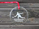 Male Ultimate Frisbee Player Ornament Round Glass Ornament Xmas Ornament Novelty Christmas Decoration Tree Decoration Sun Catcher Personalized Gift Keepsake Christmas Ornament