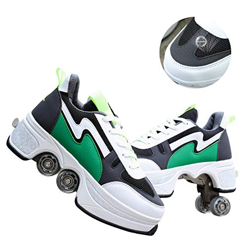 Unisex Double-Row Deformation Wheel 2 in 1 Summer Removable Pulley Skates Skating Breathable Automatic Walking Shoes Invisible Roller Skate Outdoor Sports Best Choice,42