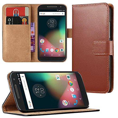 Eximmobile - Book Case Handyhülle für Motorola Moto G 2. Generation mit Kartenfächer   Schutzhülle aus Kunstleder   Handytasche als Flip Case   Cover in Braun Handy Tasche Etui Hülle Kunstledertasche