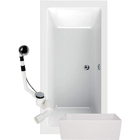 ohne Schürze Badewanne Rechteck eckig 190 x 80 cm Acryl Füße Ablauf mit