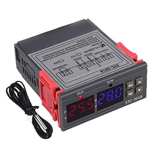 Controlador de Temperatura Digital STC-3018, termostato de Control de Temperatura con Sensor NTC Inteligente para incubar el frigorífico del congelador