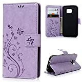 Galaxy S6 Edge Case,Galaxy S6 Edge Wallet Case,LW-Shop for Samxung Galaxy S6 Edge PU Leather Case [Built-in Credit Card Slots] Magnetic Design Flip Folio Cover with Flower Butterfly Pattern(Purple)