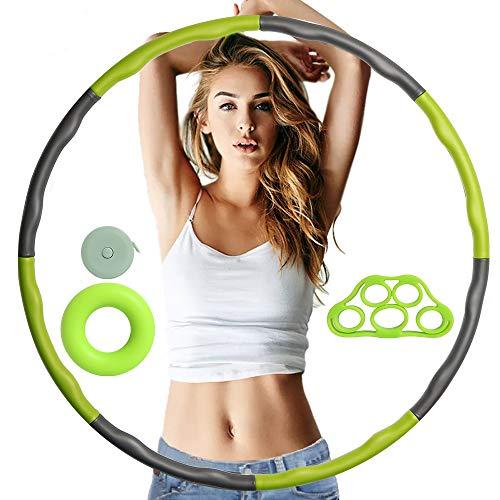 CESHMD Hula Hoop Reifen Erwachsene Fitness zur Gewichtsreduktion Massage, 6-8 Segmente Abnehmbarer Hoola Hoop Reifen ca.1 kg mit Mini Bandmaß, Fingertrainer, Handgreifer Strengthener für Bauchformung