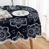 Xlabor Mantel redondo lavable con encaje, impermeable, de fácil cuidado, para jardín, habitación, decoración de mesa, color azul oscuro, 180 cm
