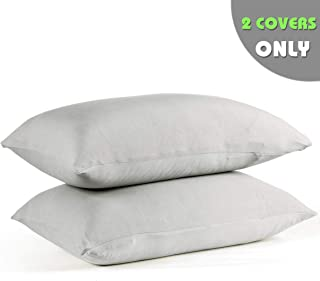 COSMOPLUS-Pillowcase-Queen-Size,Set of 2 Pillow Cases,Premium Brushed Jersey Knit,Ultra Soft,Light Gray
