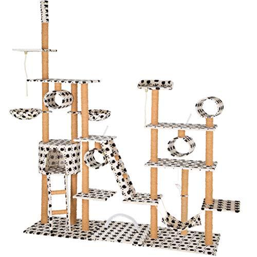 TecTake Katzen Kratzbaum Katzenbaum XXL | 2 Spielseile | 4 Röhren | 2 Treppen | 2 Liegemulden | Deckenhoch (Beige mit Tatzen | Nr. 402741)