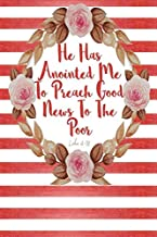 He Has Anointed Me to Preach Good News to the Poor: Bible Verse Quote Cover Composition Notebook Portable