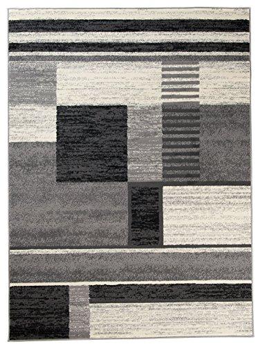 Carpeto Rugs Tapis Salon Gris 250 x 350 cm Moderne Geometrique/Torino Collection