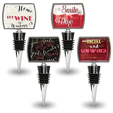 Decorative Wine Stoppers with Funny Quotes - Stainless Steel Wine & Beverage Bottle Stopper Set - Bar Accessories, Wedding Favors & Bridal Shower Gifts (pack of 4)