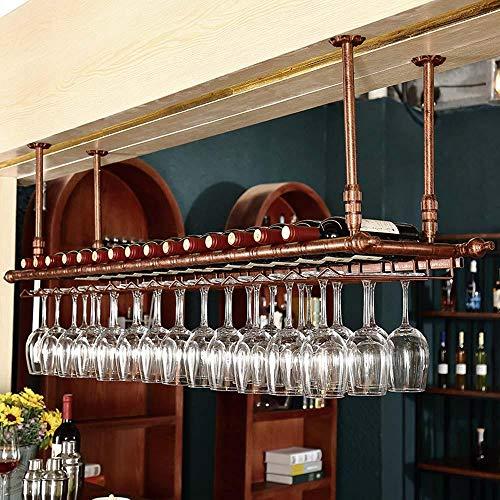 Techo vintage colgar boca abajo titulares de copas de vino de hierro negro bronceado fundición de metal vasos altos barra de almacenamiento de botellas estantes de pub-bronce_Los 80 * 30cm