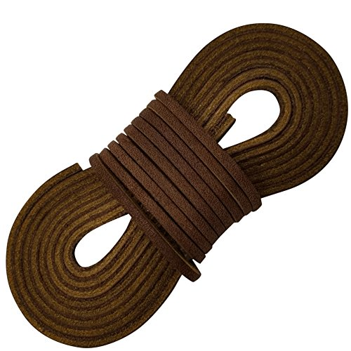 TOFL Leather Boot Laces|1/8 Inch Thick 72 Inches Long|2 Leather Strips [1 Pair]|Medium Brown