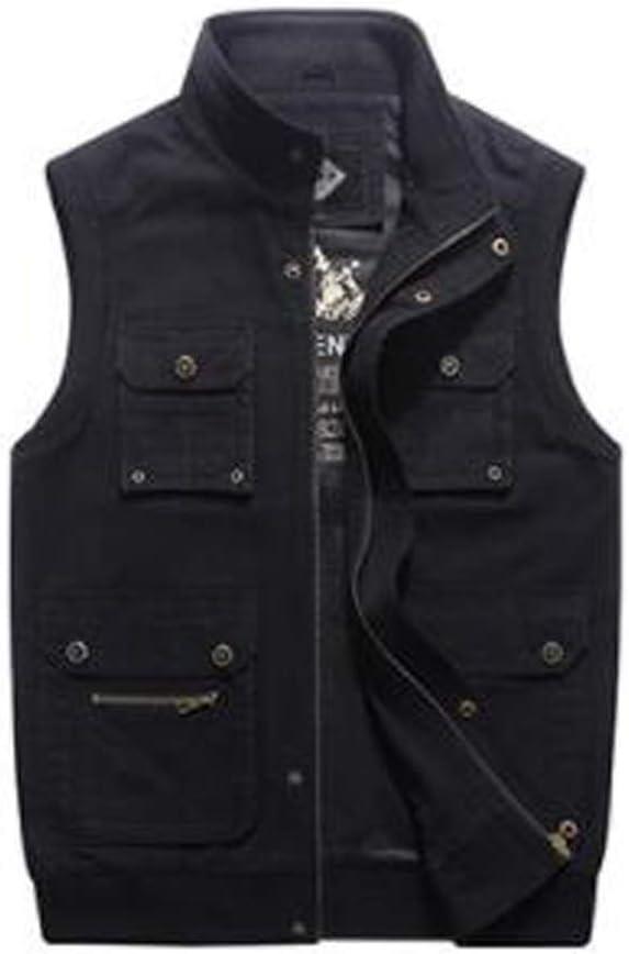 FHK Vest Casual Loose Large Size Multi-Bag Male Stand Vest Workwear Jacket (Color : Black, Size : M)