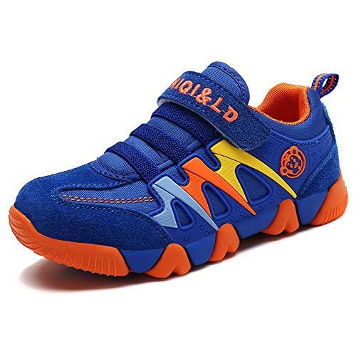Ragazzo Ragazza Scarpe da Ginnastica Running Sportive Basse Bambini Respirabile Scarpe Tennis Sneakers all'aperto Unisex-bambin Blu 34 EU = Produttore :35