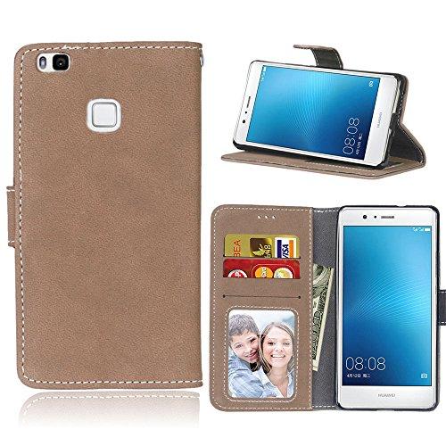 Funda Huawei P9 Lite / G9 Lite,Bookstyle 3 Card Slot PU Cuero Cartera para TPU Silicone Case Cover(Beige)
