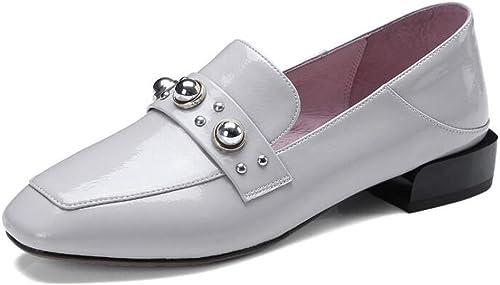 XIE zapatos de mujer Charol Tacones cerrados Mocasines planos blanco negro Tamaño 35 a 41