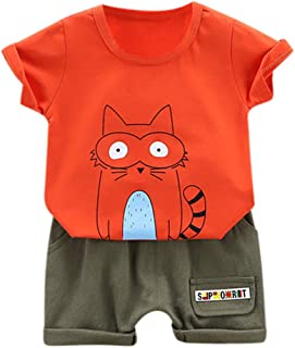NEEDRA Infant Toddler Kids Baby Boys Girls Clothes Short Sleeve Cartoon Print Tops T-Shirt Blouse Solid Shorts 2PC Outfits Set
