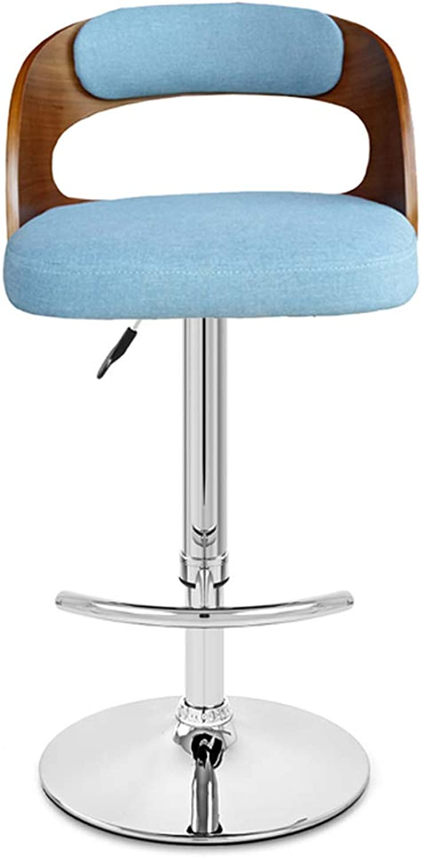 Ghjkl Bar Chair Bar Stool Swivel Chair Fabric Back Bar Chair Wooden Stool -by TIANTA (color   Brown bluee)