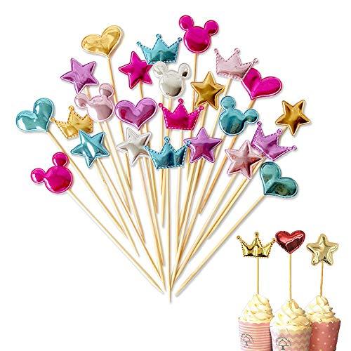 40 Piezas Toppers de Magdalena en Forma de Corazón/Estrellas/Corona Torta de Cumpleaños Decoración, Palitos de Cóctel Comida Palillo de Dientes Decoración para Fiesta Pastel de Bodas