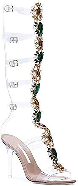 AZMODO kvinnor Knee High Gladiator Gladiator Gladiator Stiletto Heel Strappy Buckle Crystal Rhinestones Sexy Dress Sandals  spara 60% rabatt och snabb frakt över hela världen