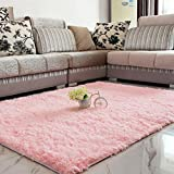 LQZ(TM Tapis Shaggy Anti-Patinage Longues Mèches Rose Dimension:120x80 cm