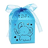 Kslong Baby Shower Favor Boxes, 50Pcs Blue Elephant Favor Box for Baby Boy Laser Cut Box with Ribbon for Birthday Wedding Party Cajitas para Dulces